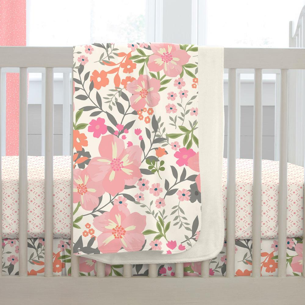Product image for Pink and Orange Floral Tropic Baby Blanket