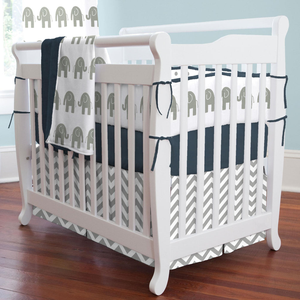 Product image for Navy and Gray Elephants Mini Crib Bumper