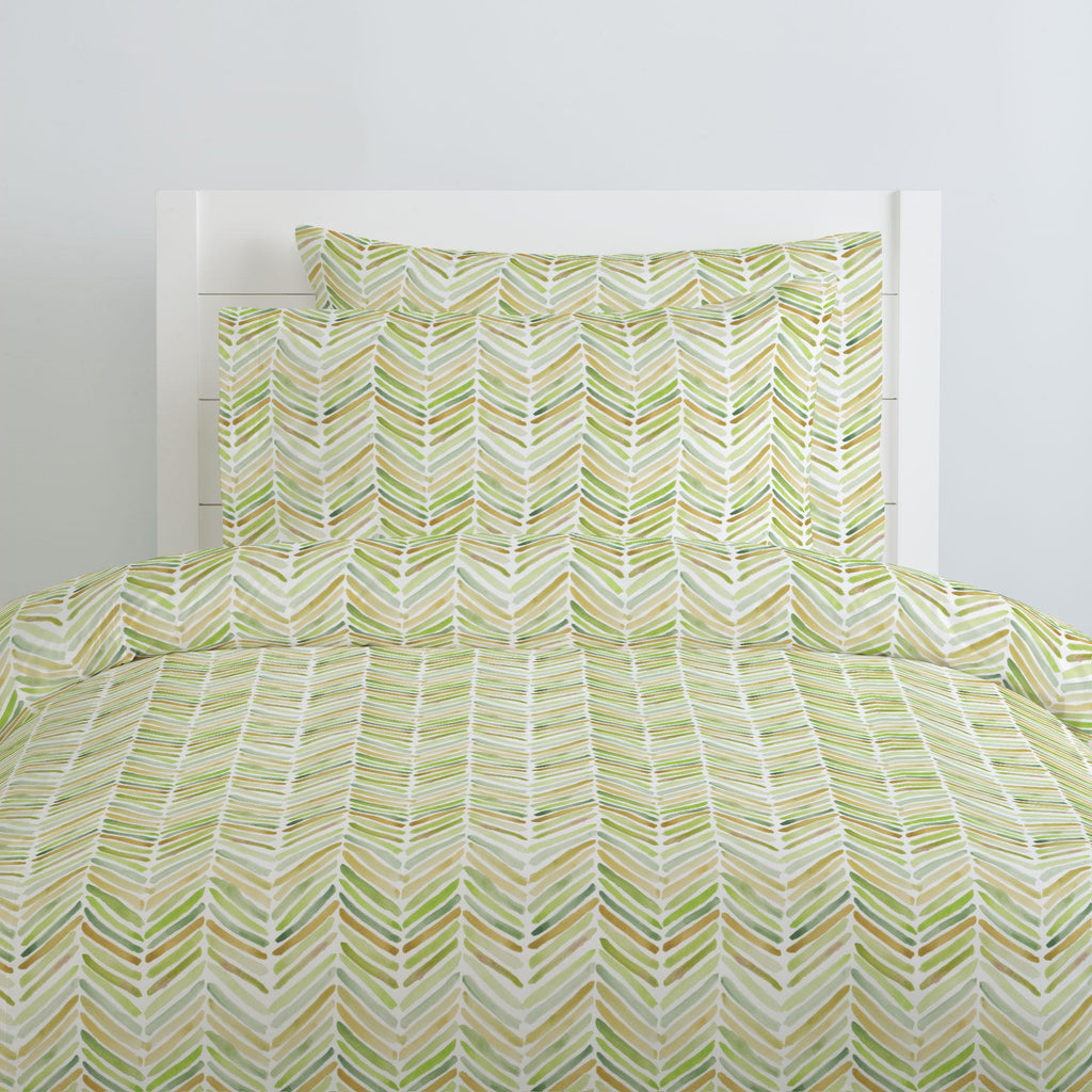 Product image for Green Painted Chevron Duvet Cover