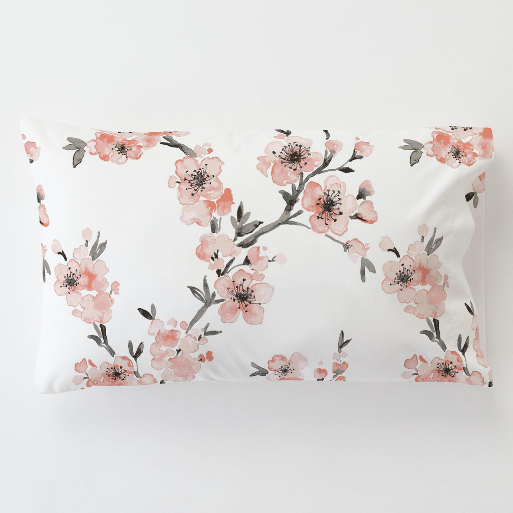 Product image for Light Coral Cherry Blossom Toddler Pillow Case with Pillow Insert