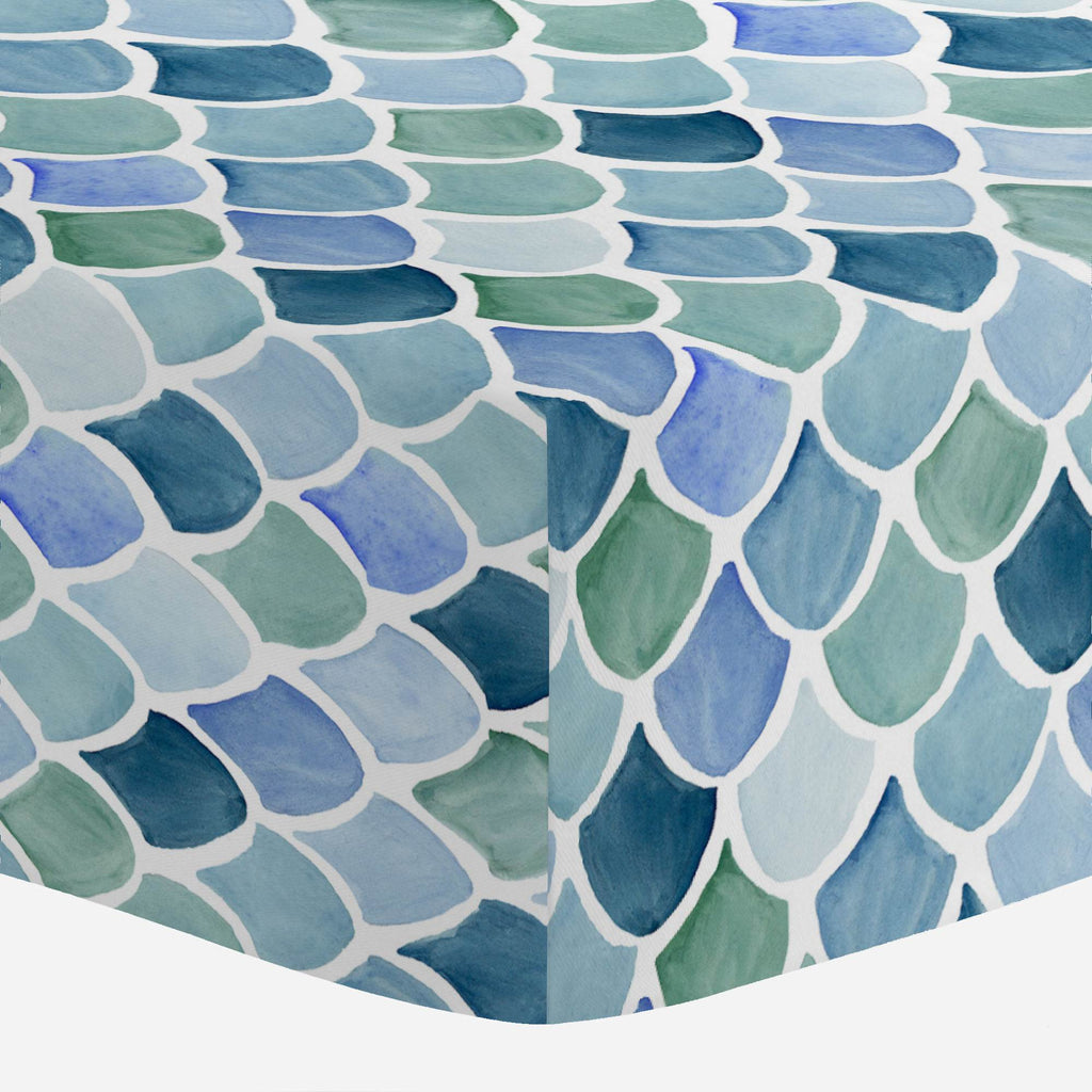 Product image for Blue Watercolor Scales Crib Sheet