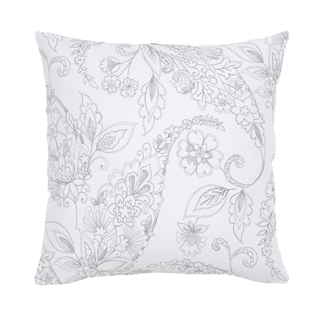 Product image for Cloud Gray Sketchbook Floral Throw Pillow