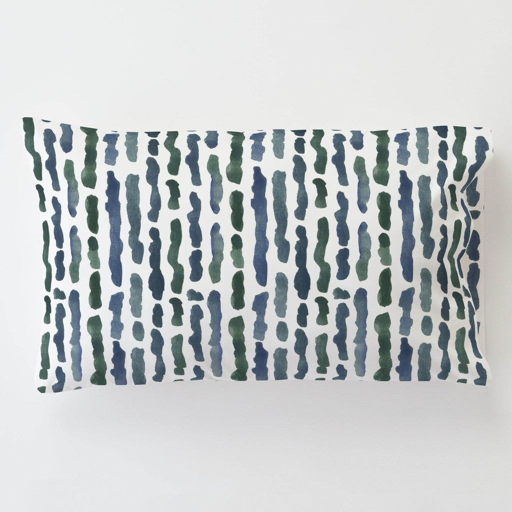 Product image for Sea Green Stripe Toddler Pillow Case with Pillow Insert