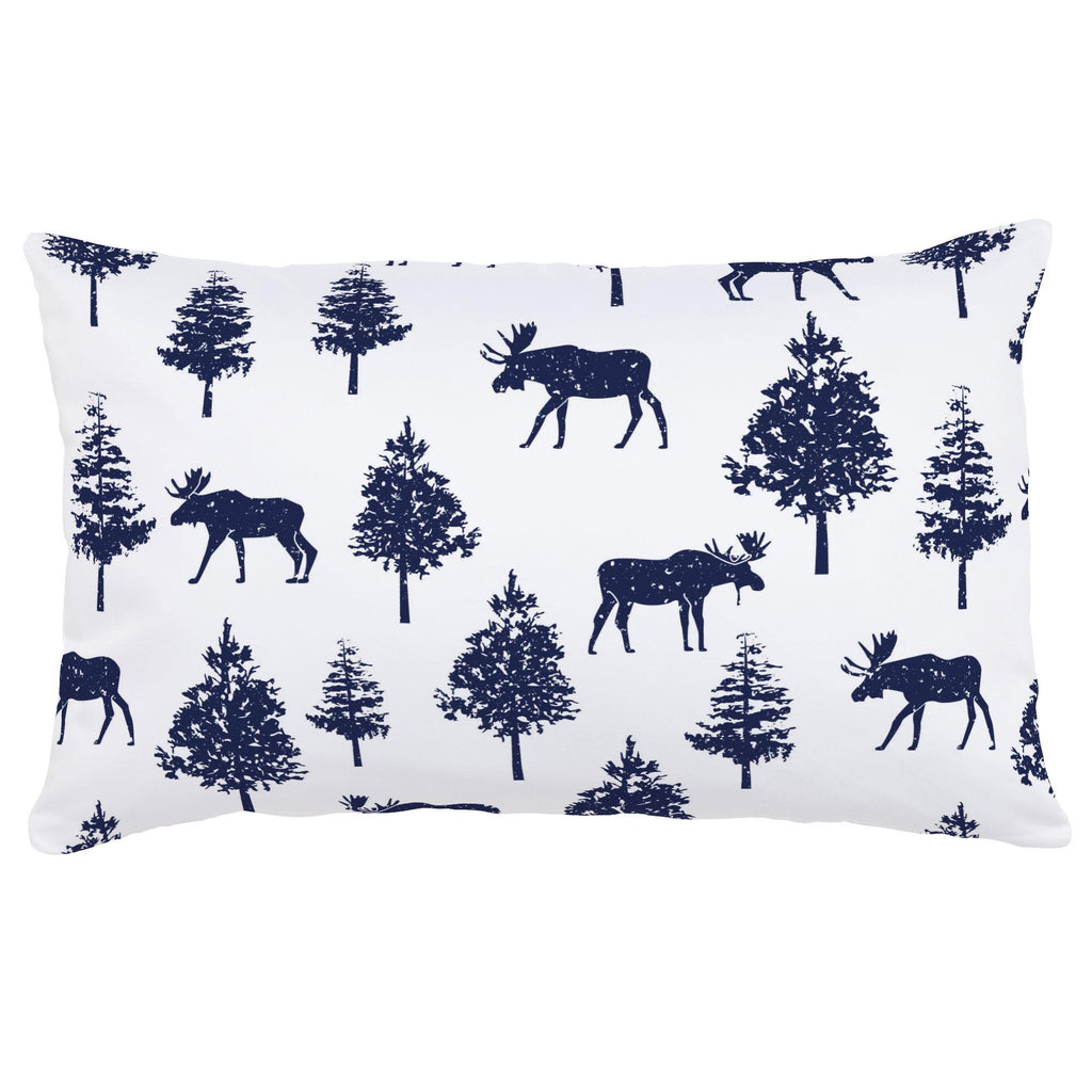 Product image for Navy Moose Lumbar Pillow