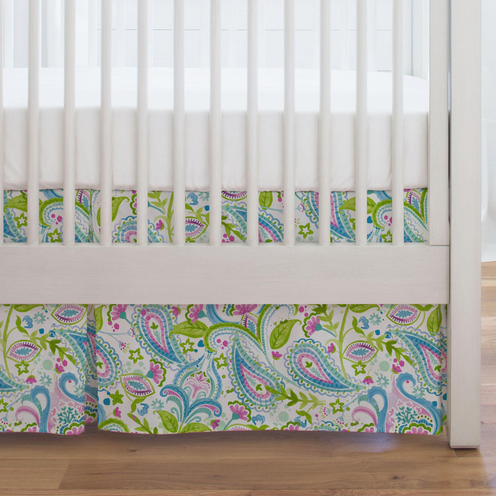 Product image for Orchid Painted Paisley Crib Skirt Single-Pleat