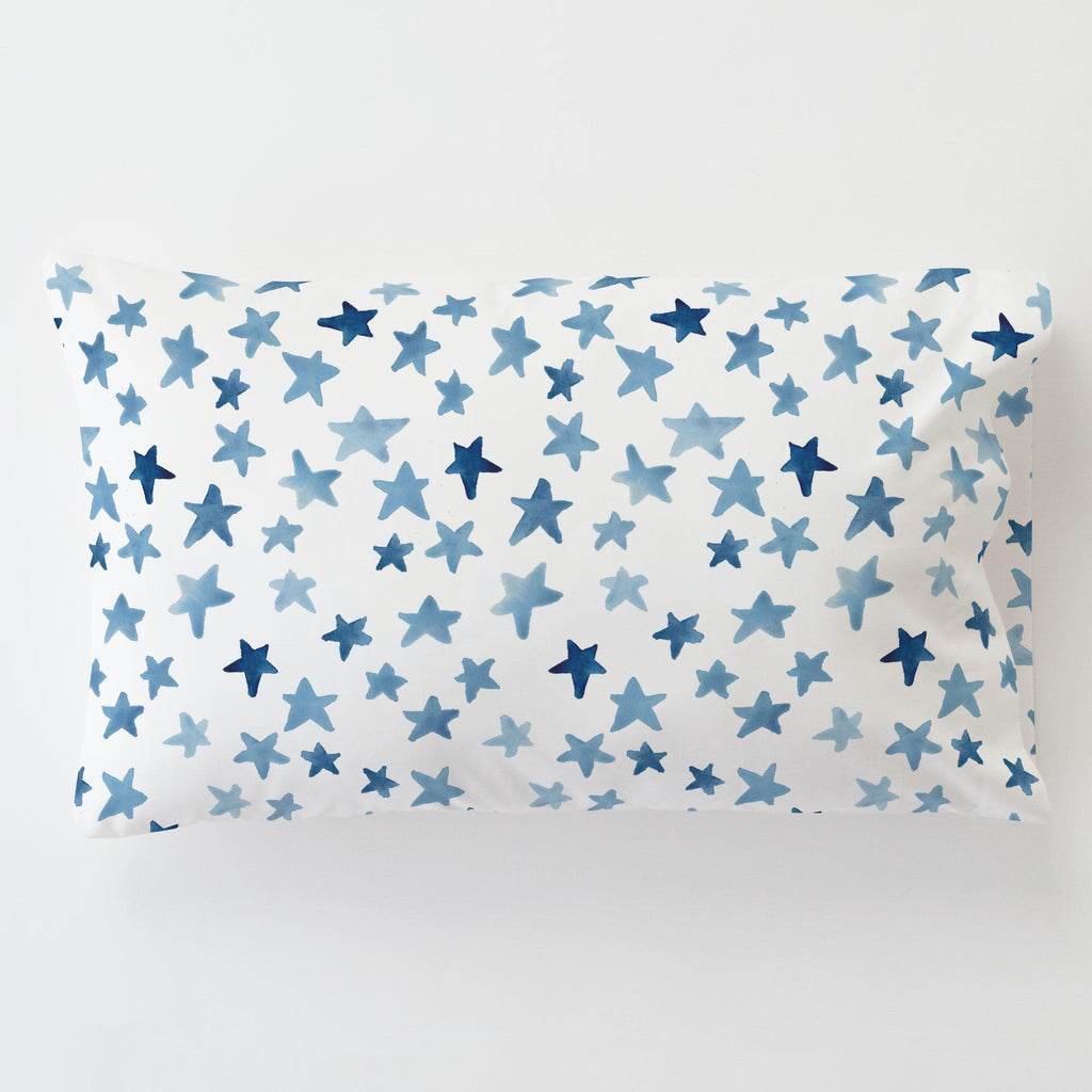 Product image for Blue Watercolor Stars Toddler Pillow Case with Pillow Insert