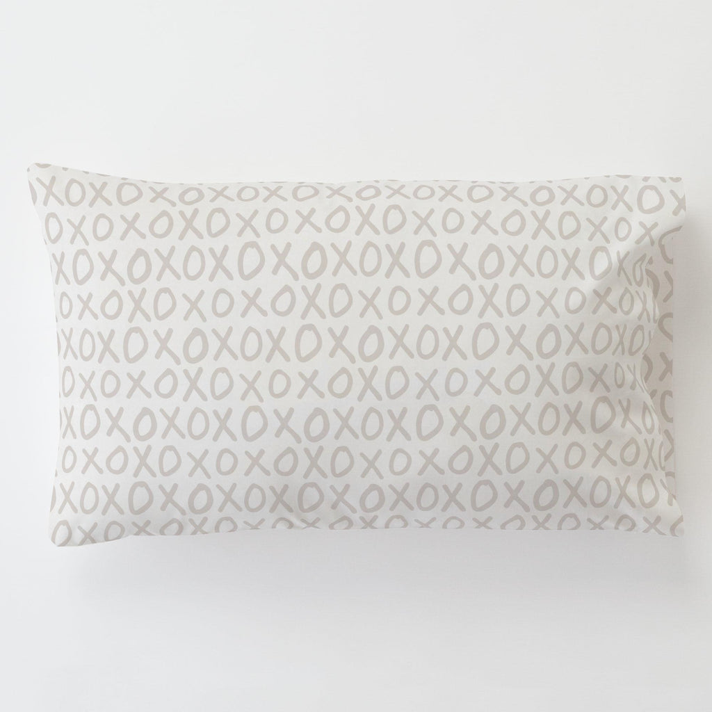 Product image for Taupe XO Toddler Pillow Case with Pillow Insert