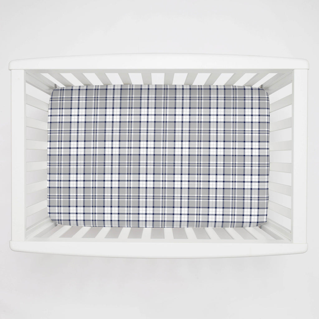 Product image for Navy and Gray Plaid Mini Crib Sheet