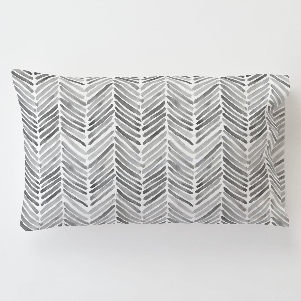 Product image for Gray Painted Chevron Toddler Pillow Case with Pillow Insert