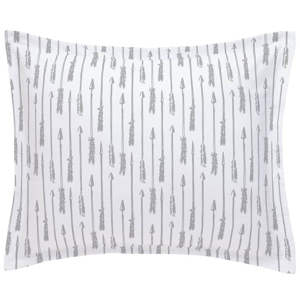 Product image for Silver Gray Hand Drawn Arrow Pillow Sham