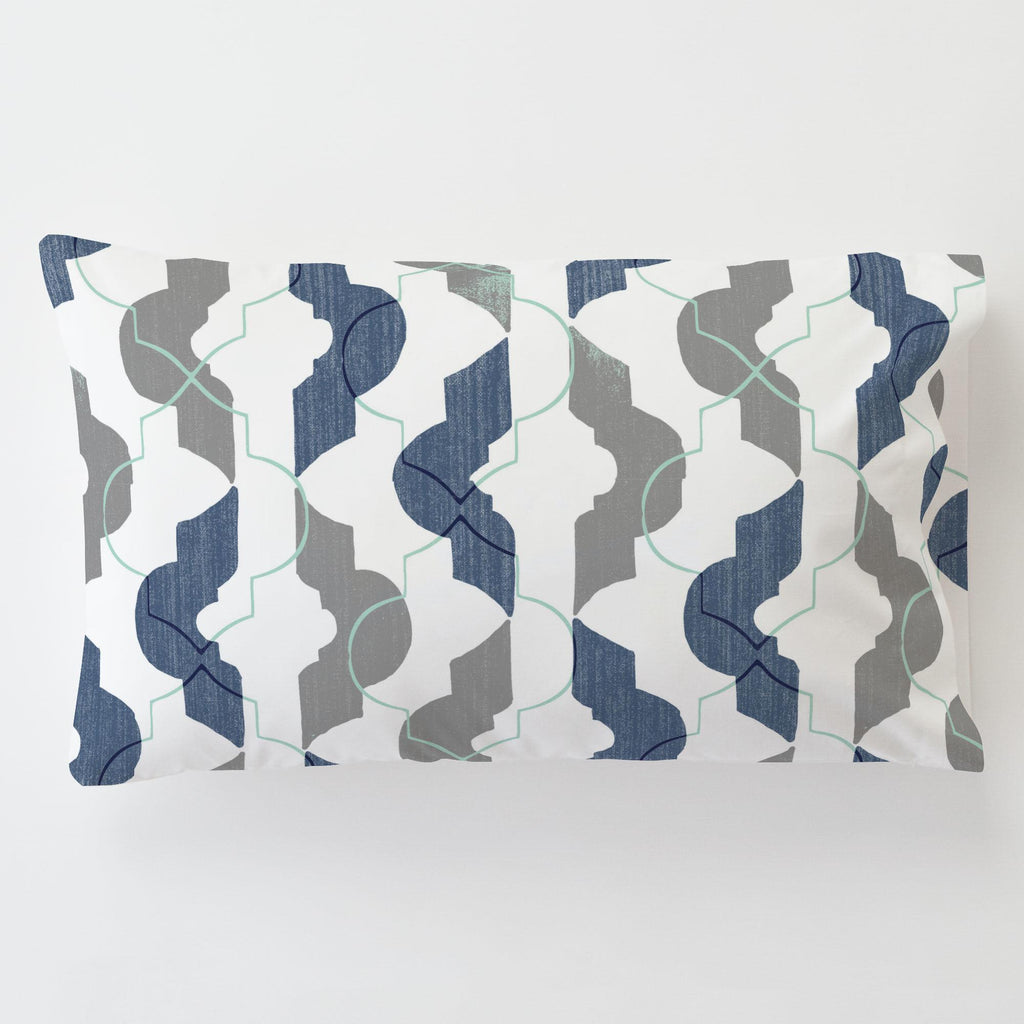 Product image for Denim and Gray Modern Quatrefoil Toddler Pillow Case with Pillow Insert