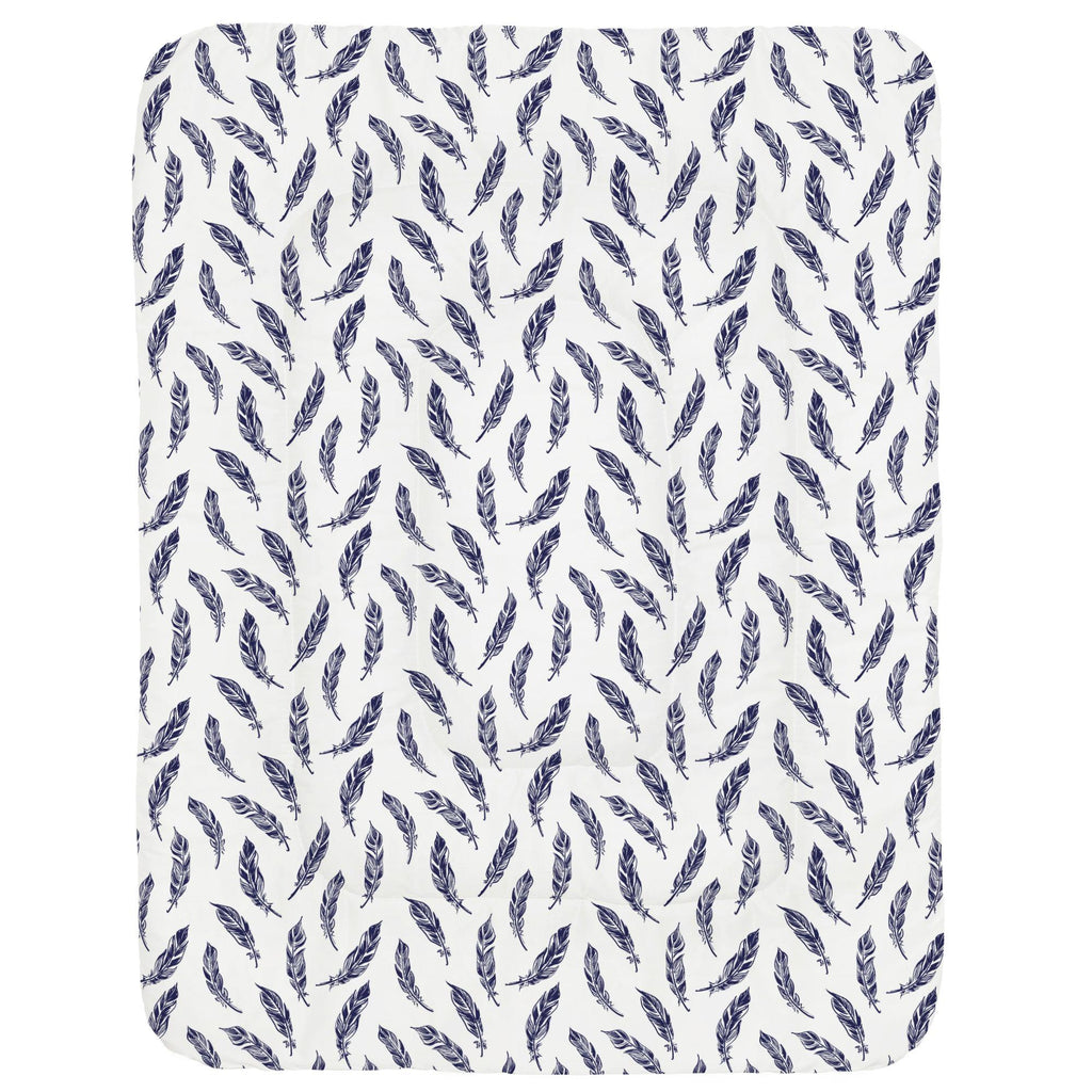 Product image for Navy Hand Drawn Feathers Crib Comforter