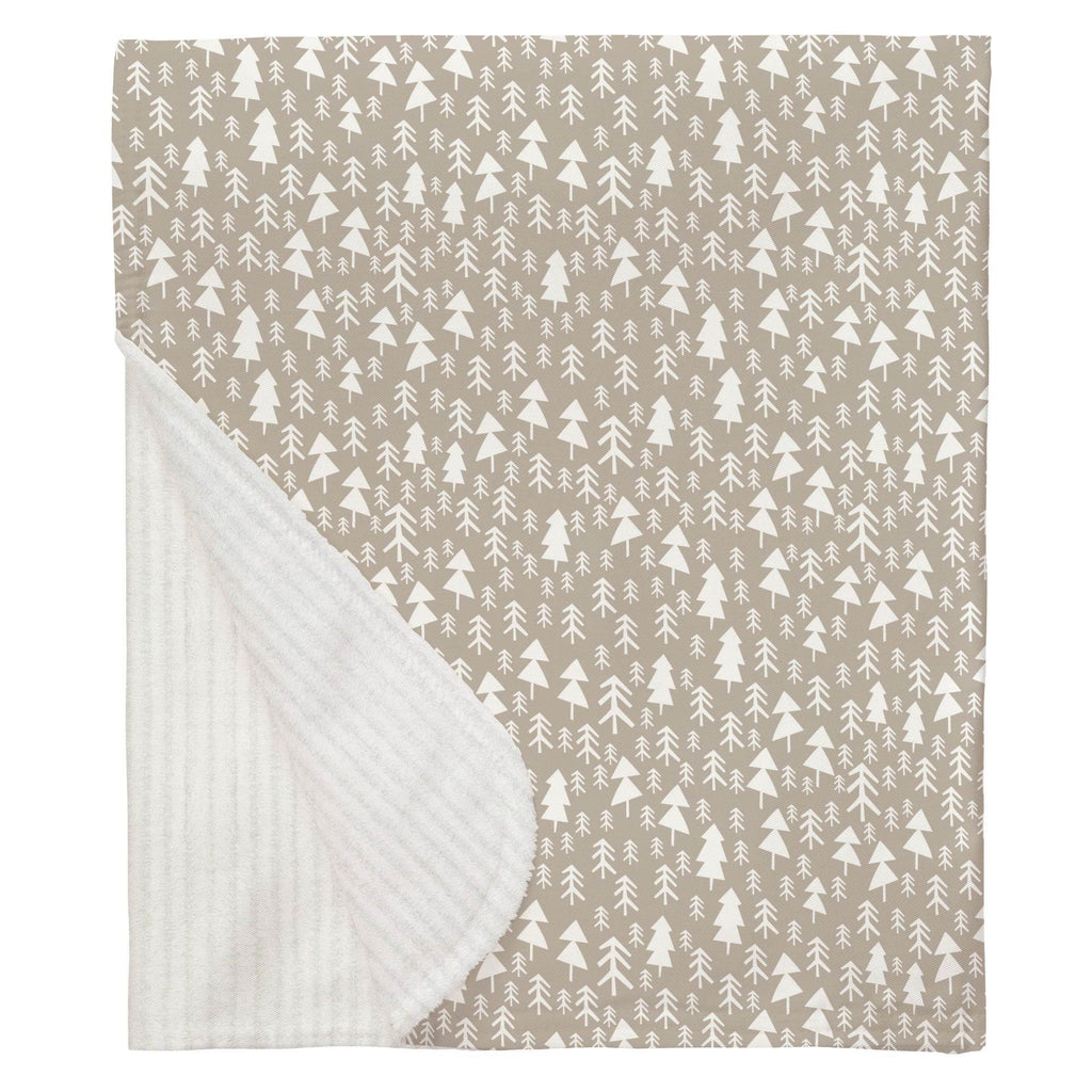 Product image for Taupe Baby Woodland Trees Baby Blanket