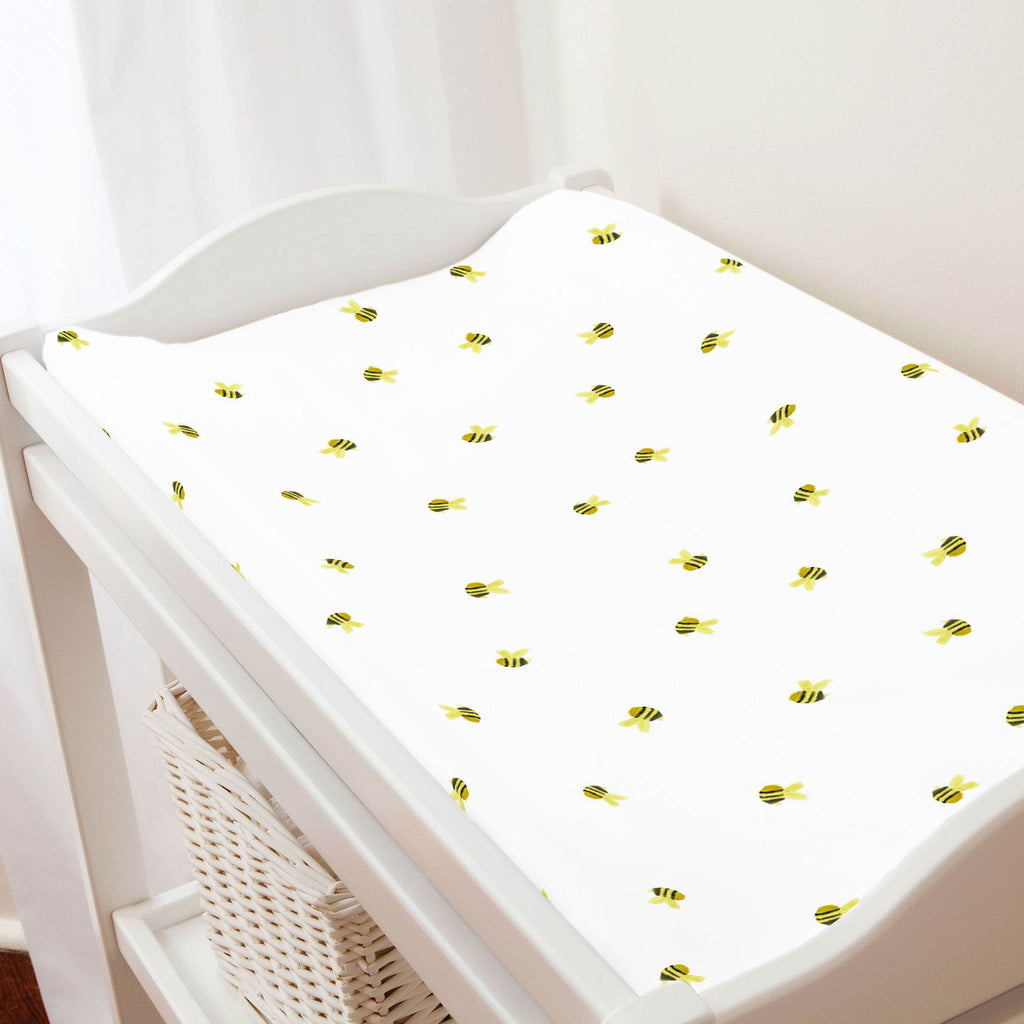 Product image for Watercolor Bees Changing Pad Cover
