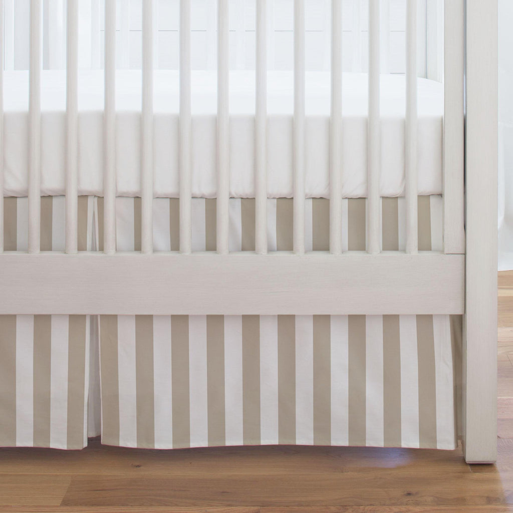 Product image for Taupe Stripe Crib Skirt Single-Pleat
