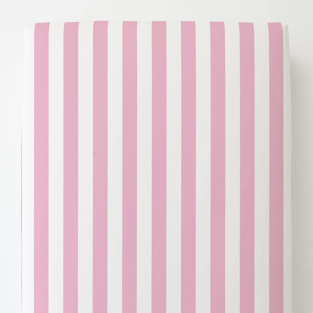 Product image for Bubblegum Pink Stripe Toddler Sheet Bottom Fitted