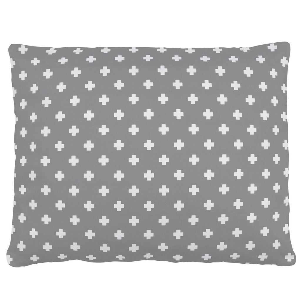 Product image for Gray Mini Swiss Cross Accent Pillow