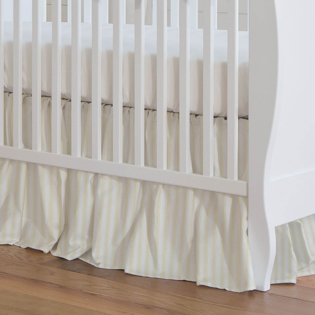 Product image for Pale Yellow Ticking Stripe Crib Skirt Gathered