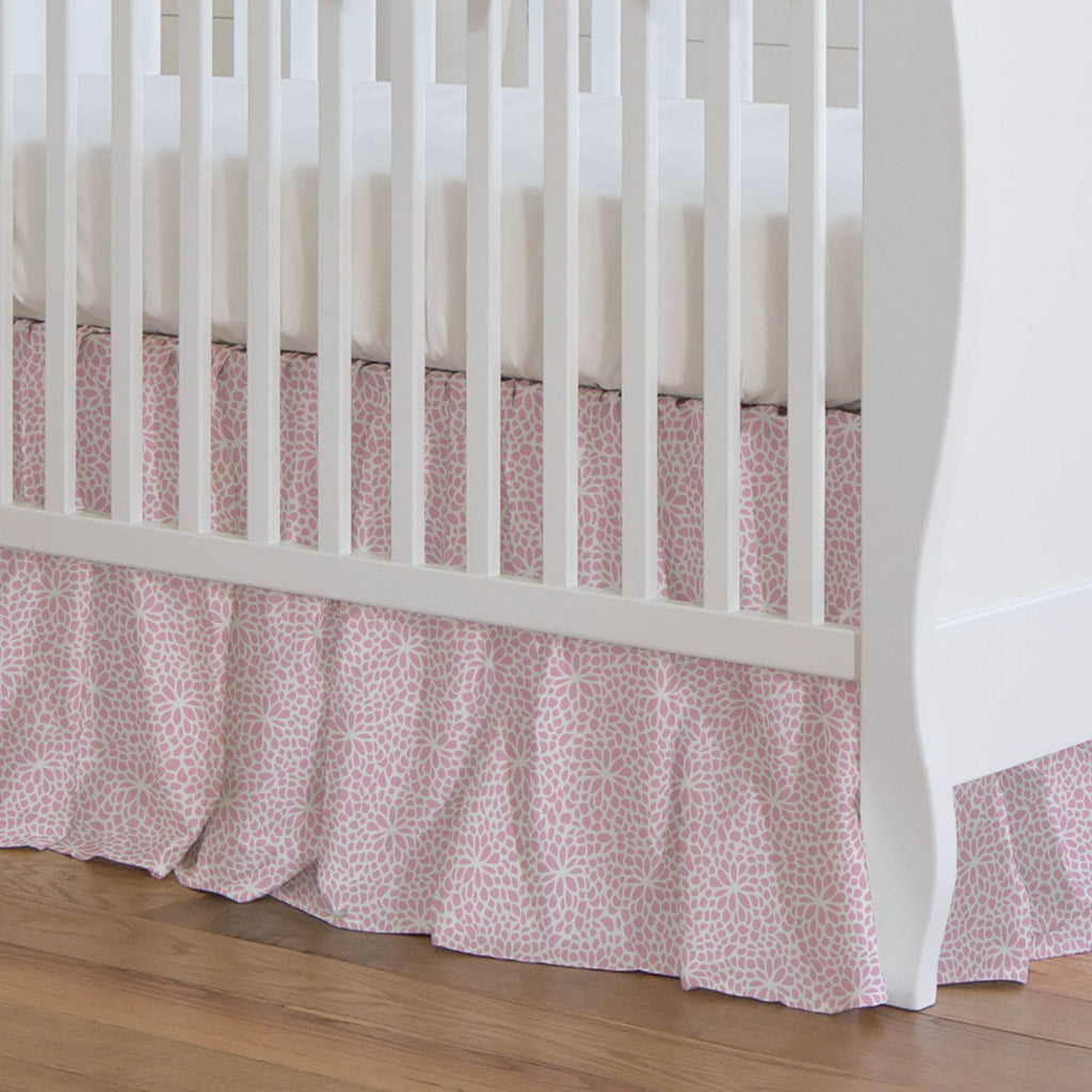 Product image for Bubblegum Pink Modern Mums Crib Skirt Gathered