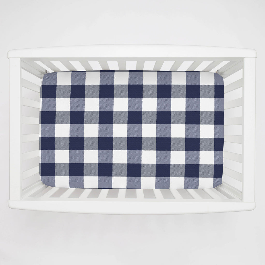 Product image for Navy and White Buffalo Check Mini Crib Sheet