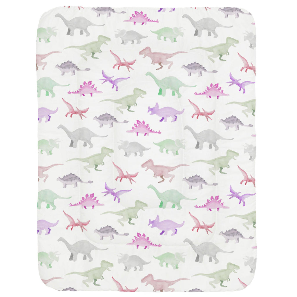 Product image for Pink Watercolor Dinosaurs Crib Comforter