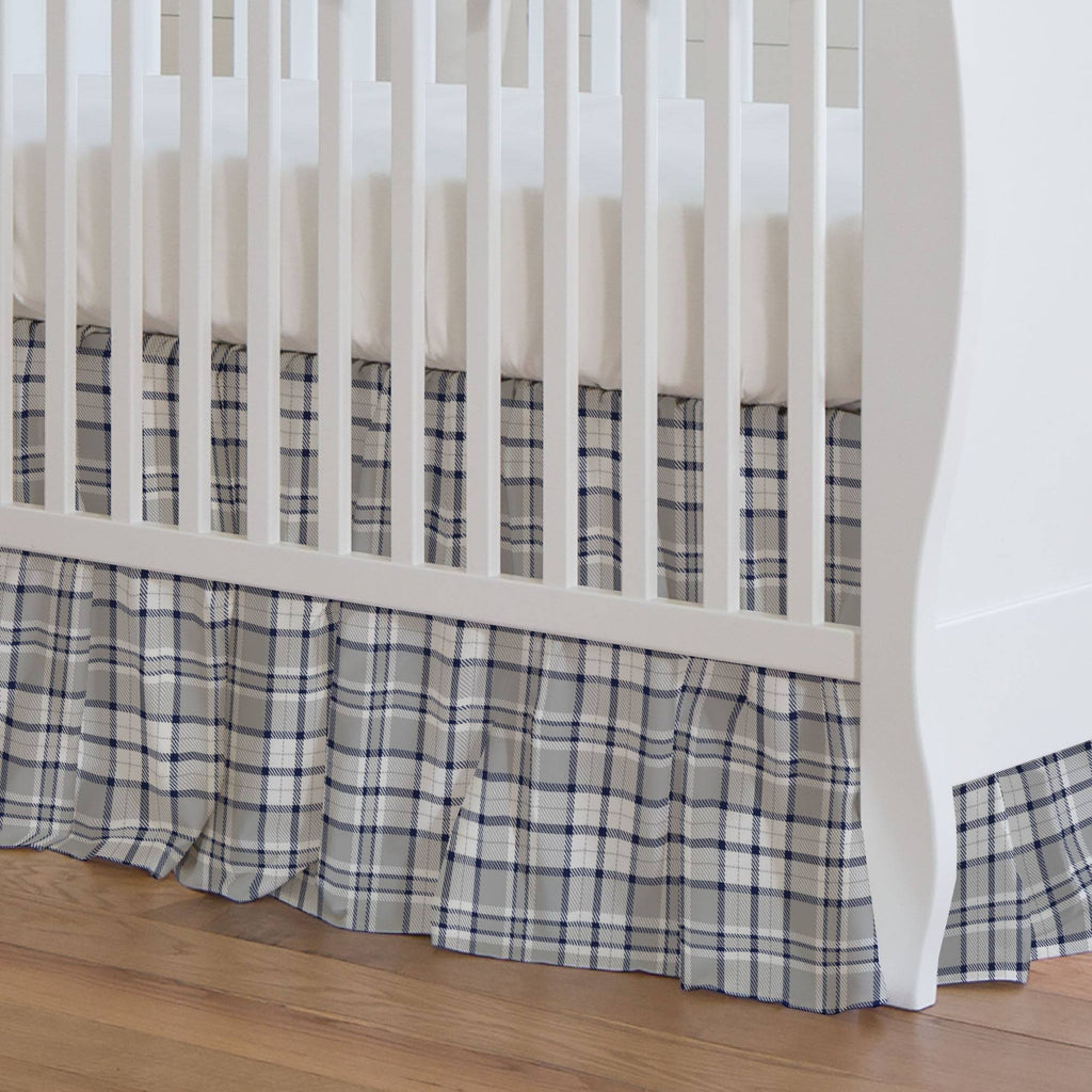 Product image for Navy and Gray Plaid Crib Skirt Gathered