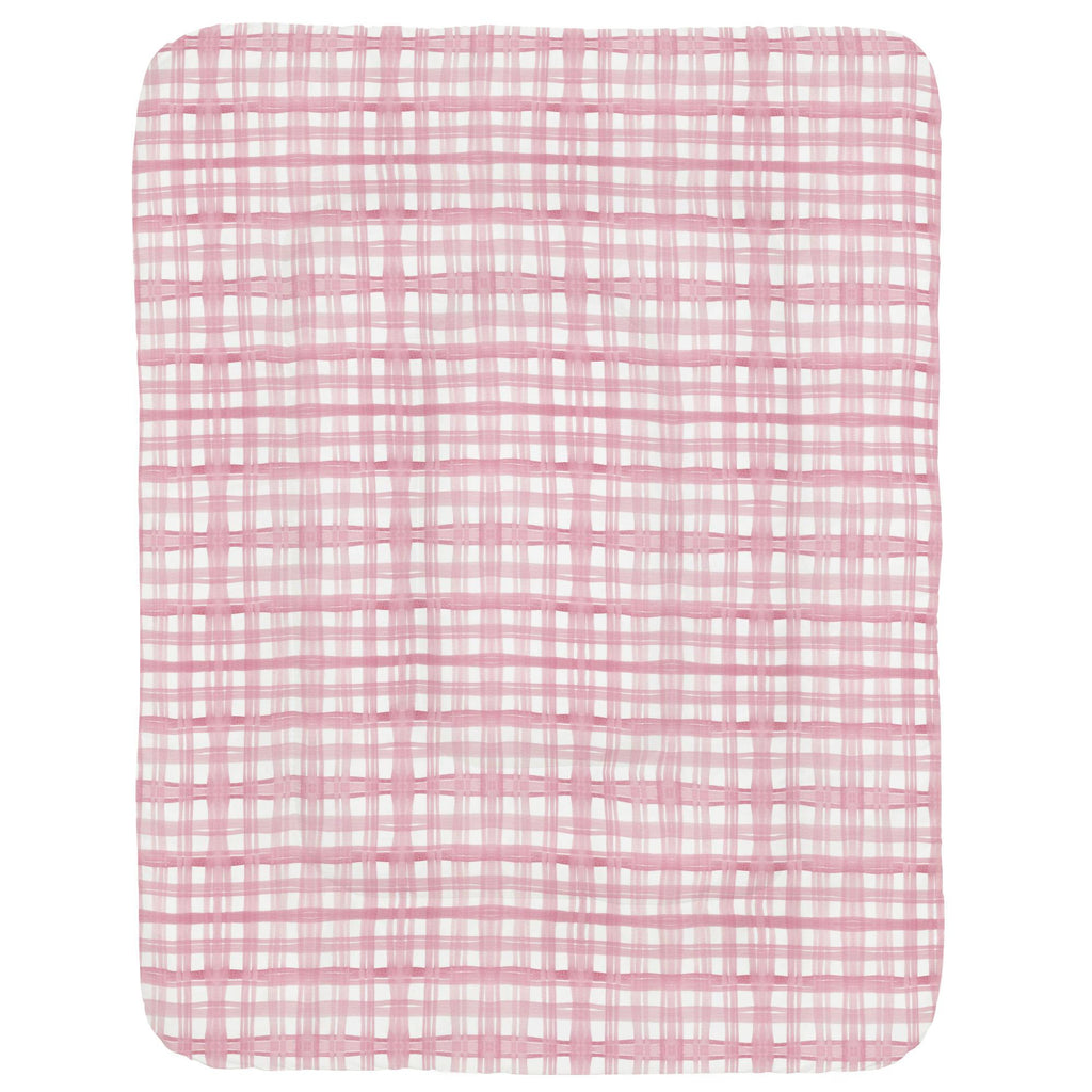 Product image for Pink Watercolor Plaid Crib Comforter