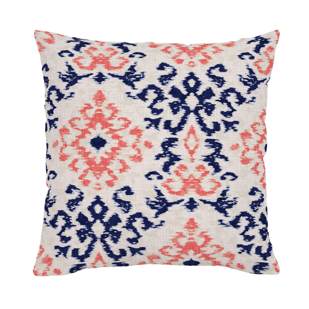 Product image for Navy and Coral Ikat Damask Throw Pillow