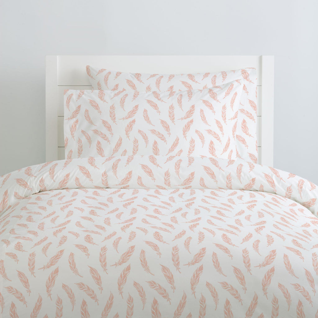 Product image for Peach Hand Drawn Feathers Duvet Cover