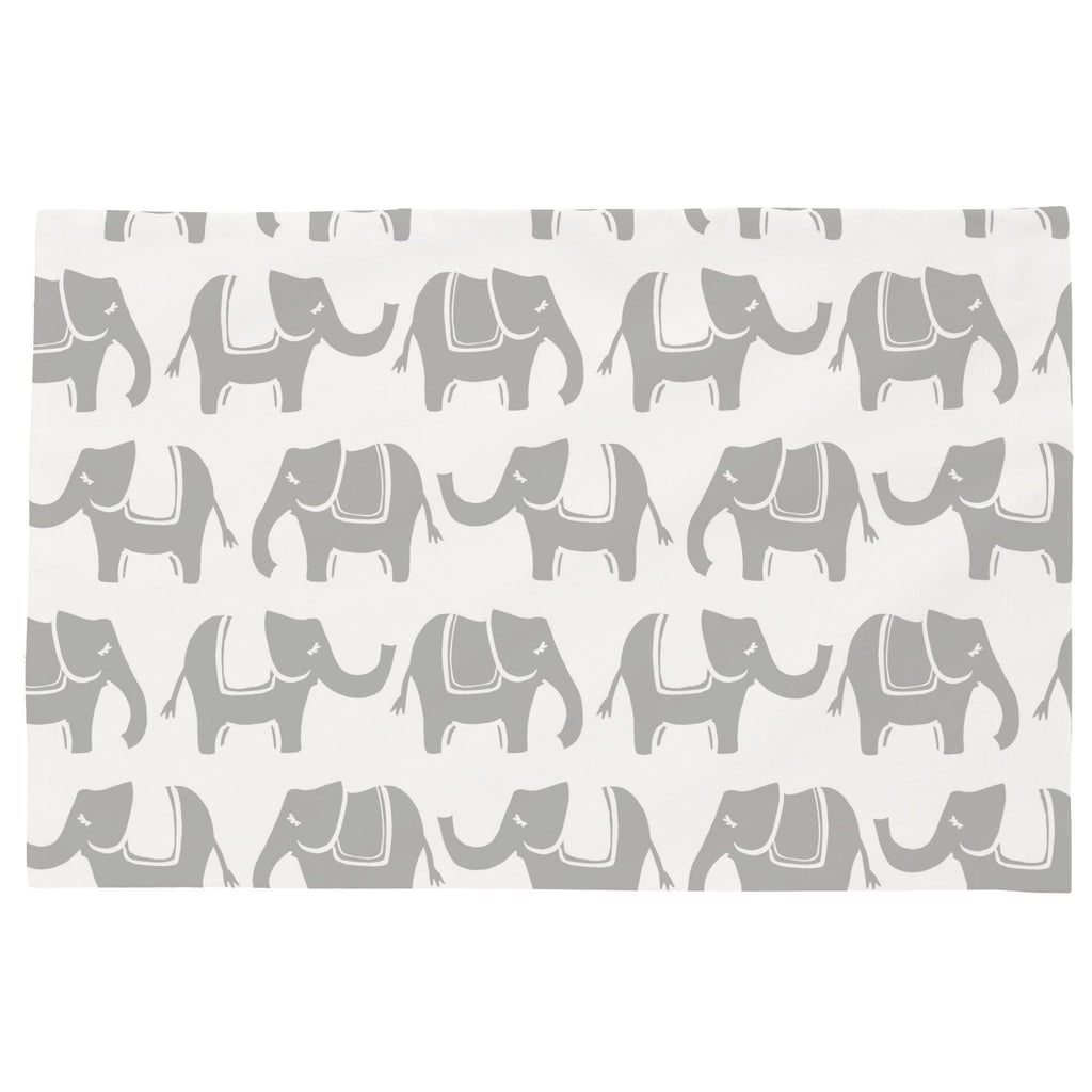 Product image for Silver Gray Marching Elephants Toddler Pillow Case