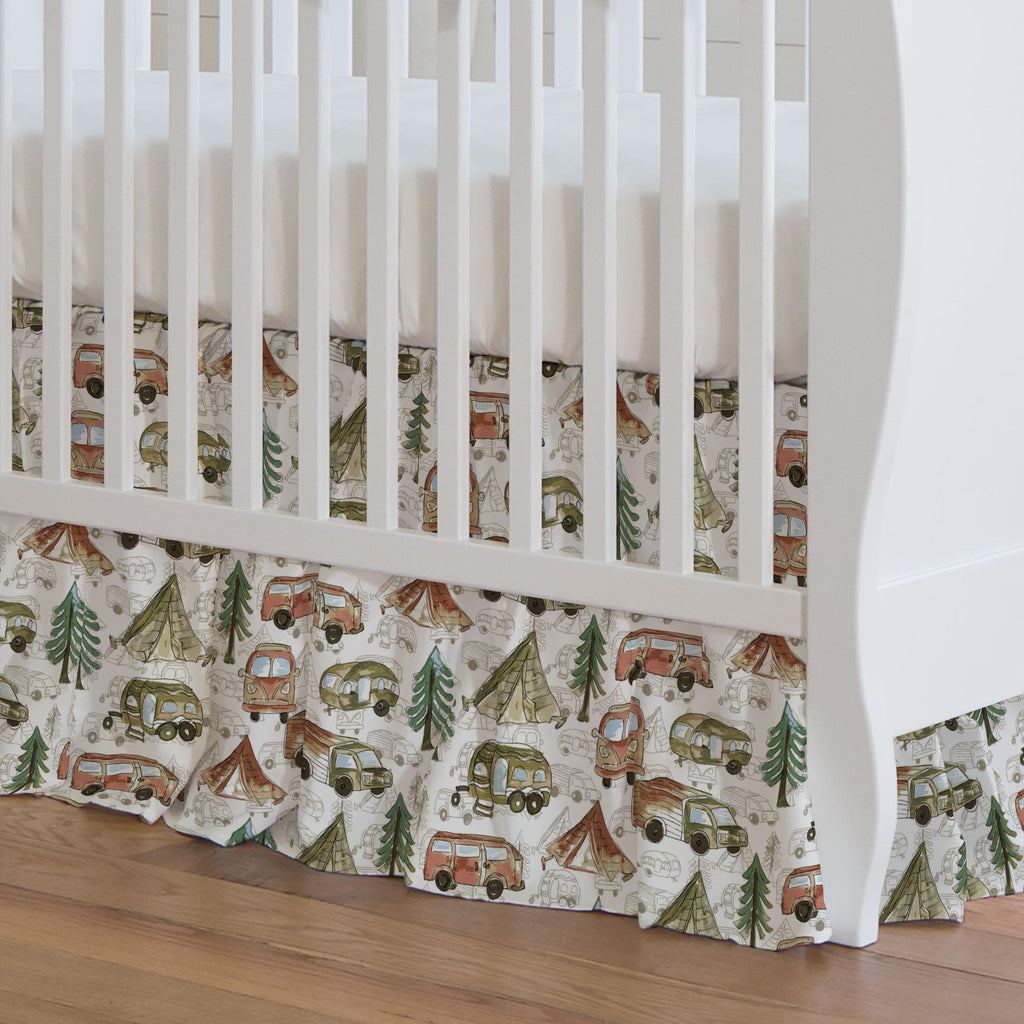 Product image for Gone Camping Crib Skirt Gathered