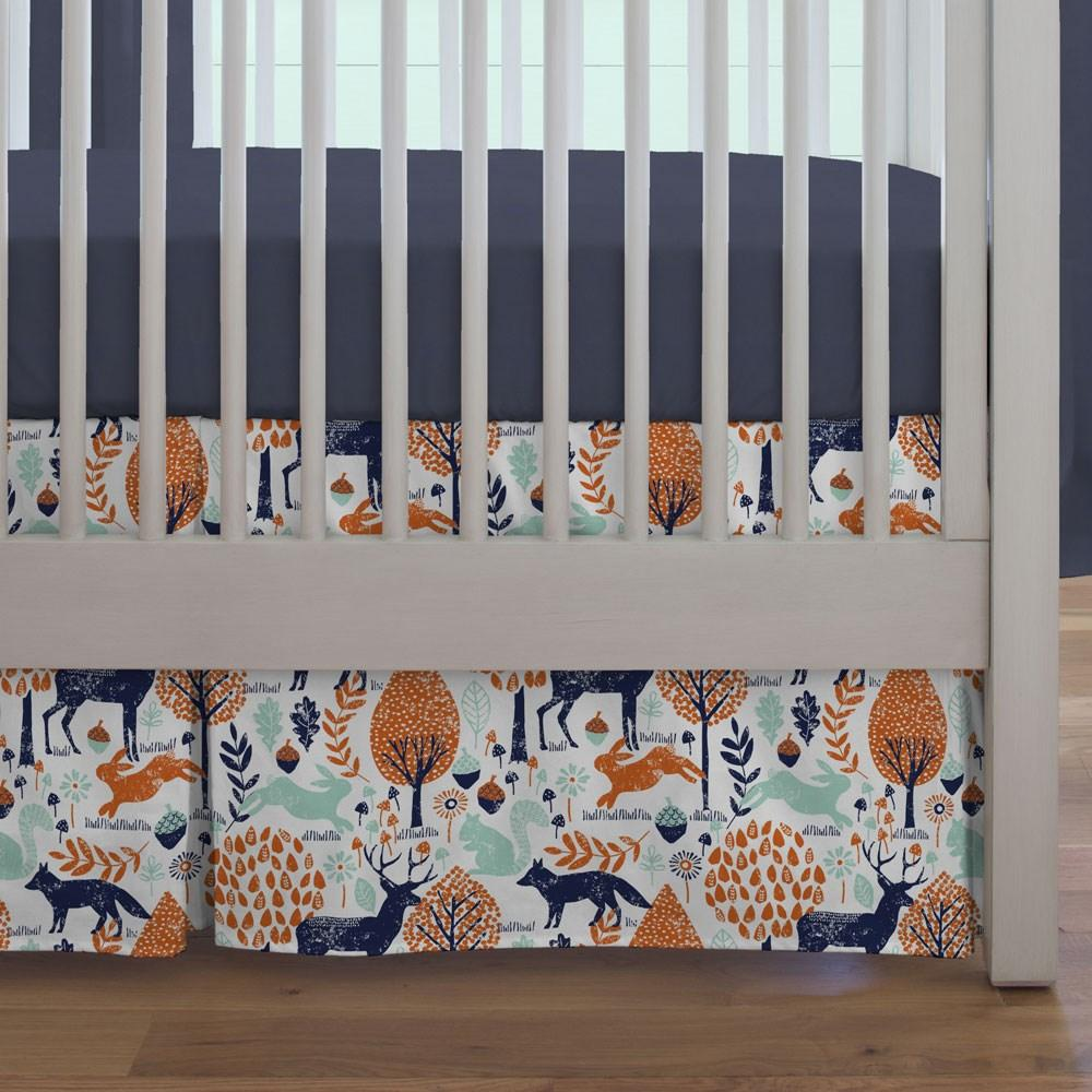 Product image for Navy and Orange Woodland Animals Crib Skirt