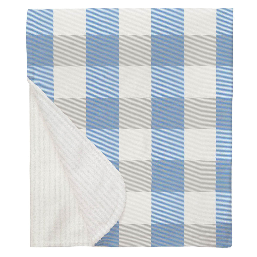 Product image for Blue and Silver Gray Buffalo Check Baby Blanket