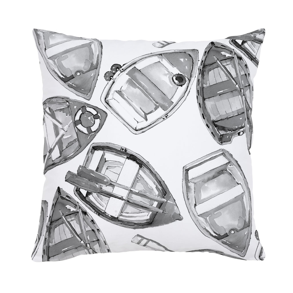 Product image for Gray Watercolor Boats Throw Pillow
