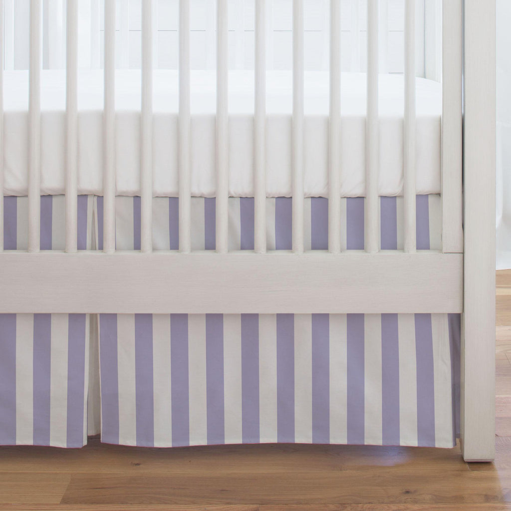 Product image for Lilac Stripe Crib Skirt Single-Pleat