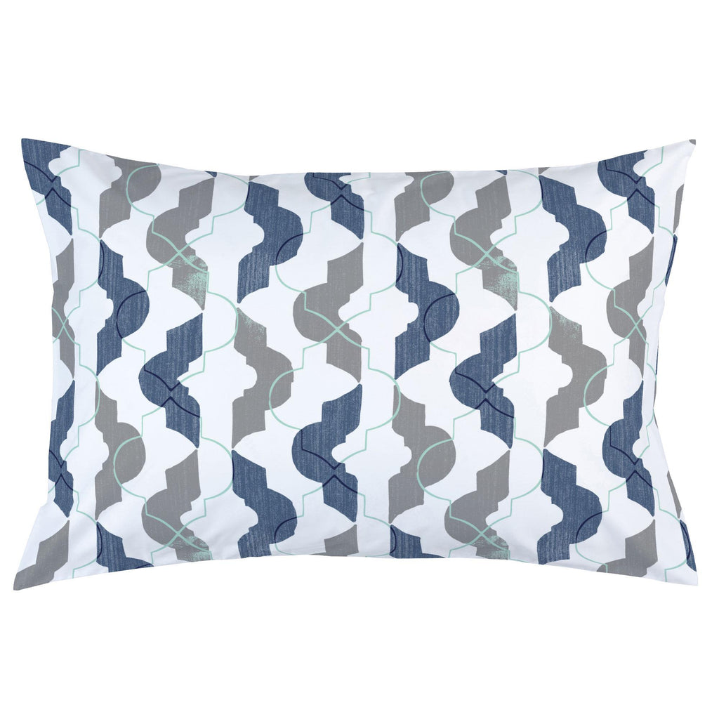 Product image for Denim and Gray Modern Quatrefoil Pillow Case