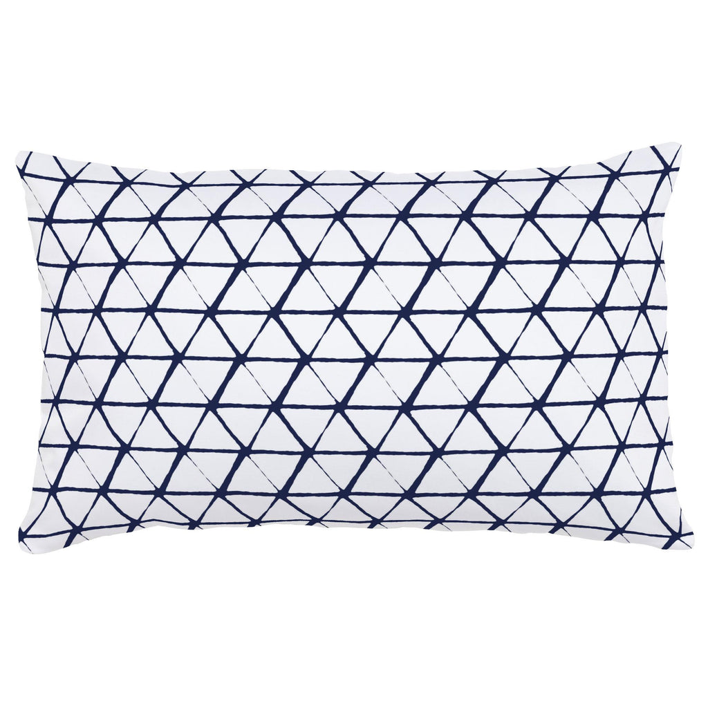 Product image for White and Navy Aztec Triangles Lumbar Pillow