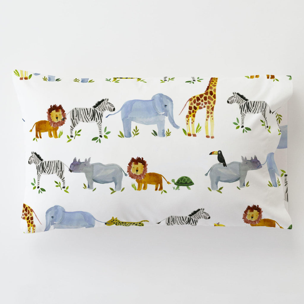 Product image for Painted Zoo Toddler Pillow Case with Pillow Insert