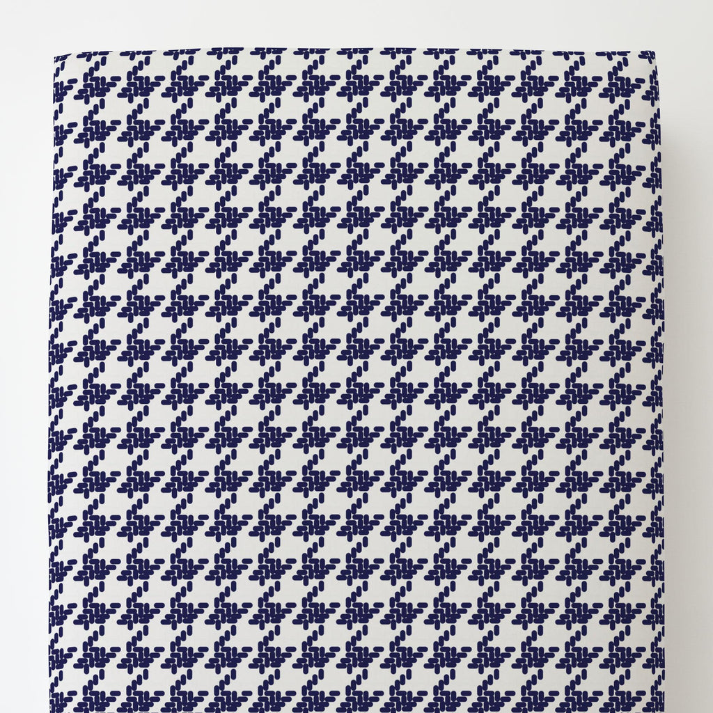 Product image for Windsor Navy Modern Houndstooth Toddler Sheet Bottom Fitted