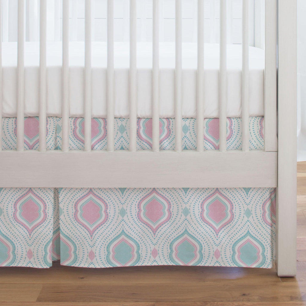 Product image for Seafoam Aqua and Pink Moroccan Damask Crib Skirt Single-Pleat
