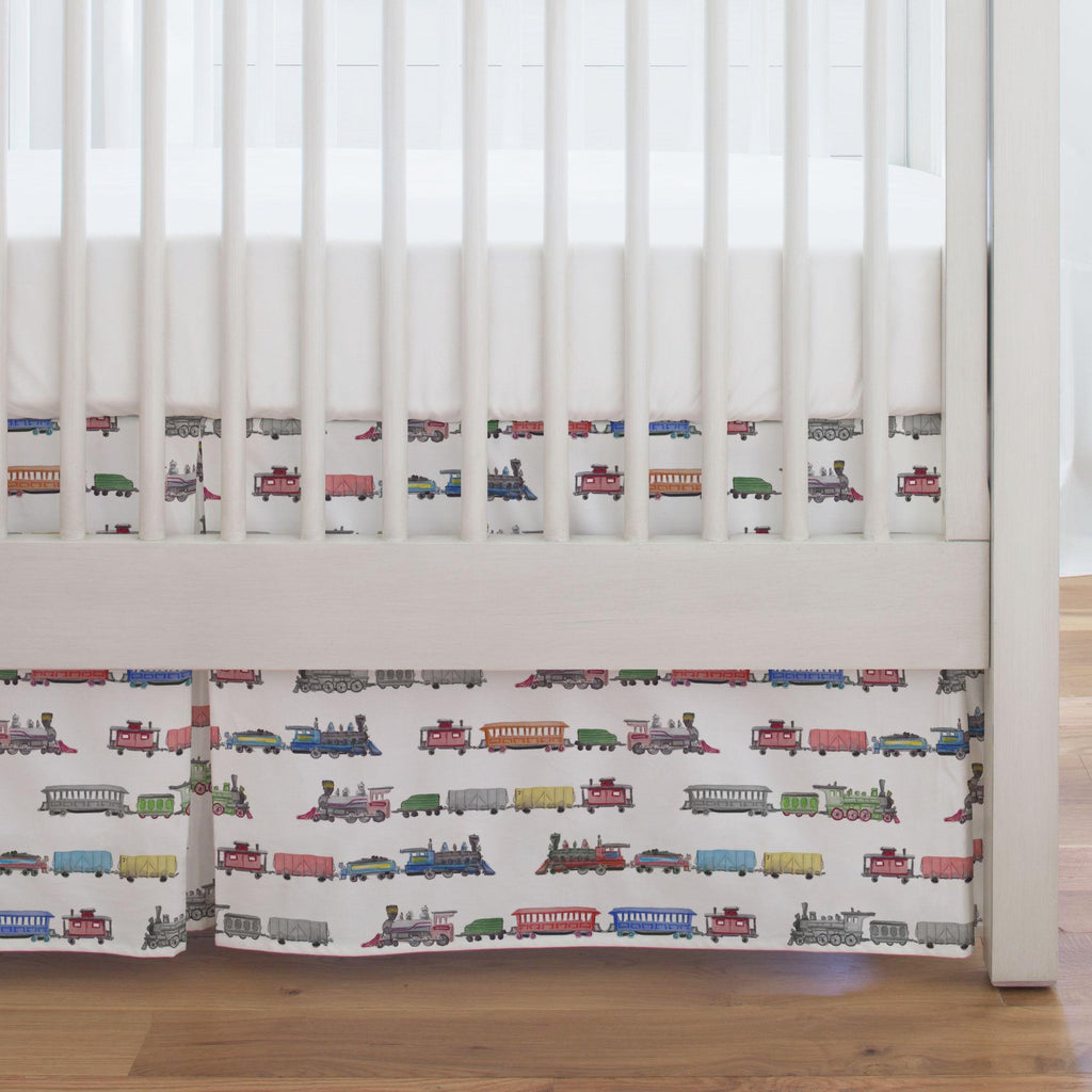 Product image for Watercolor Trains Crib Skirt Single-Pleat