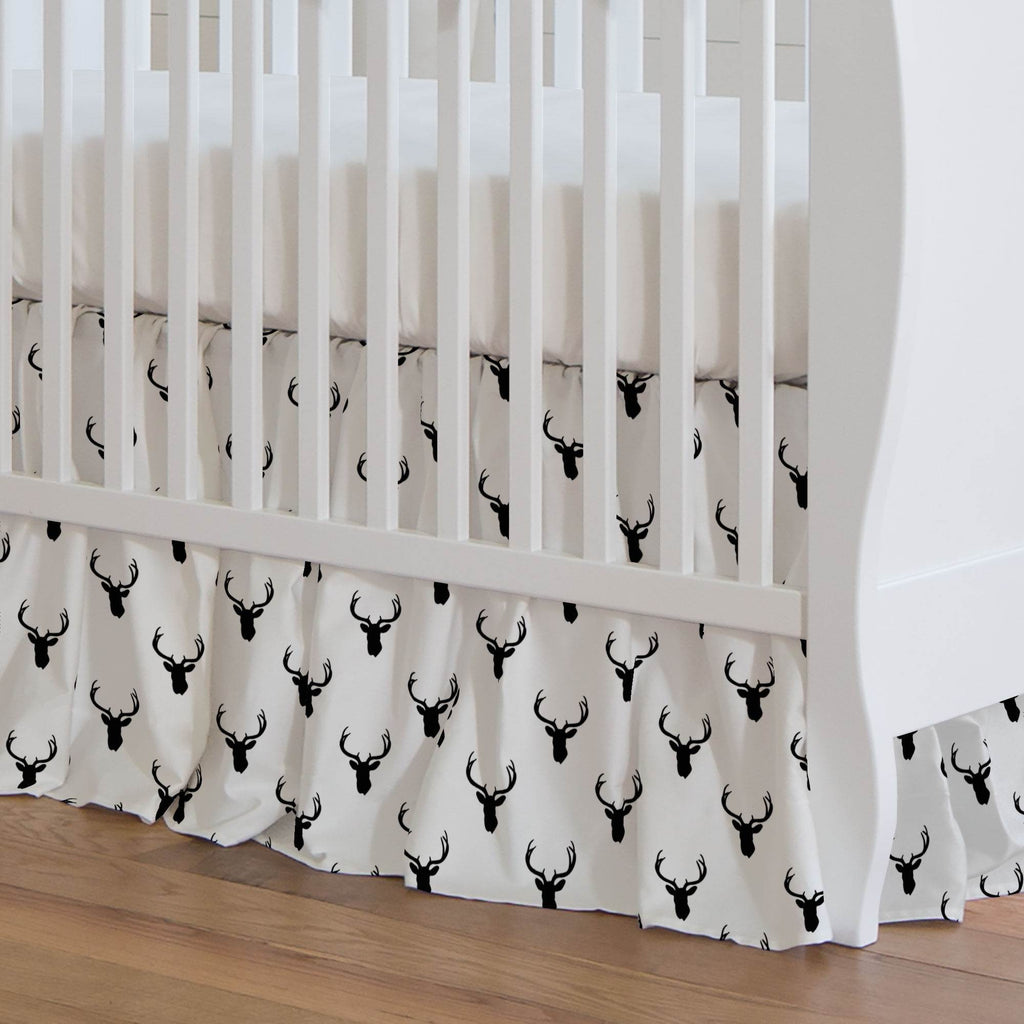 Product image for Onyx Deer Silhouette Crib Skirt Gathered