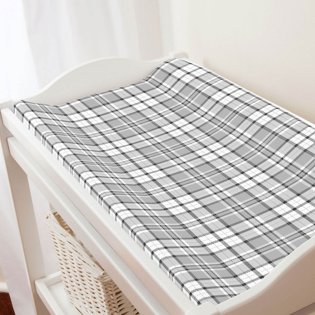 Product image for Gray Plaid Changing Pad Cover