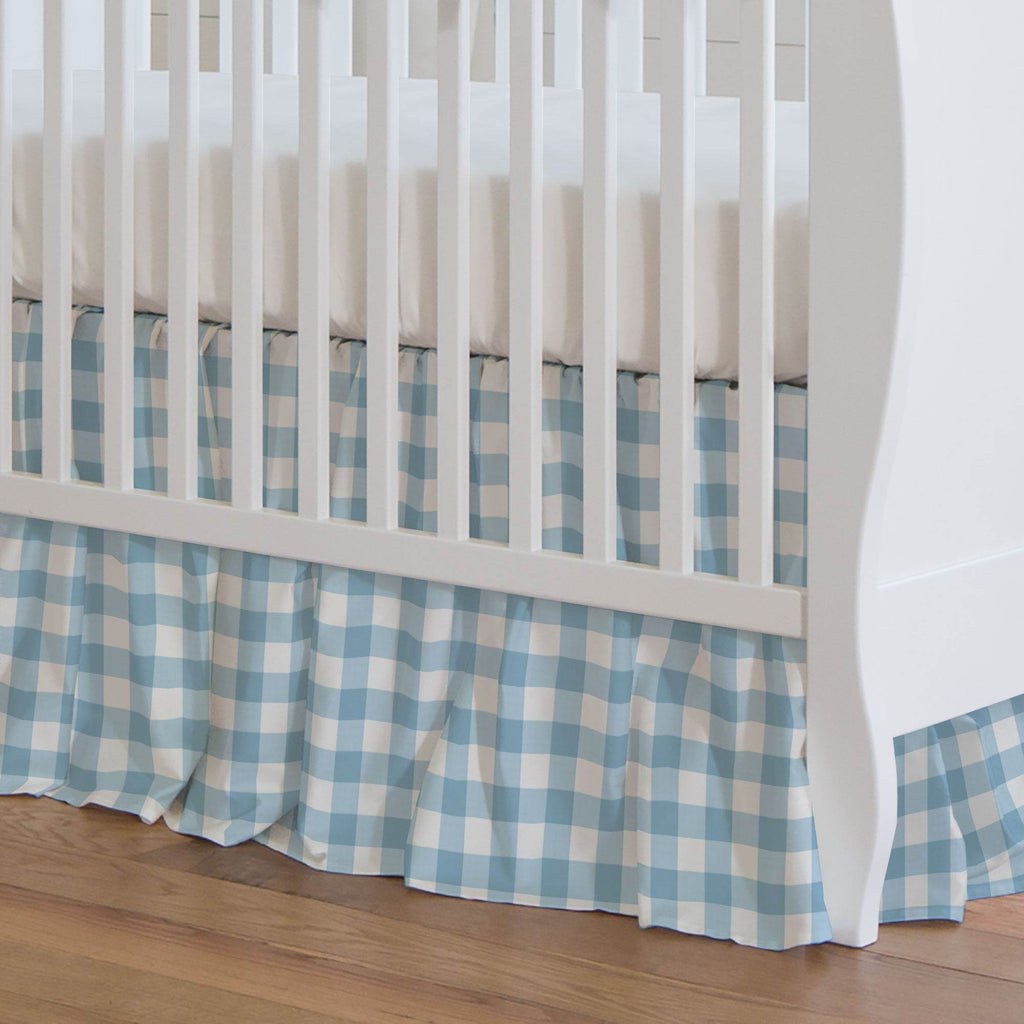 Product image for Lake Blue Gingham Crib Skirt Gathered