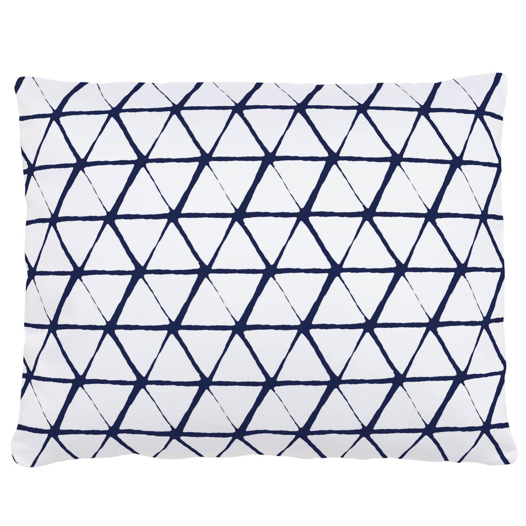 Product image for White and Navy Aztec Triangles Accent Pillow