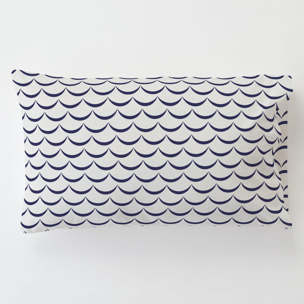 Product image for White and Navy Waves Toddler Pillow Case with Pillow Insert
