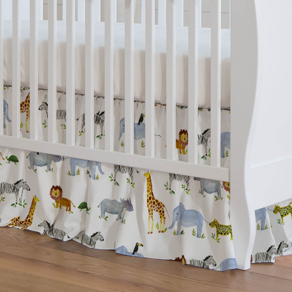 Product image for Painted Zoo Crib Skirt Gathered