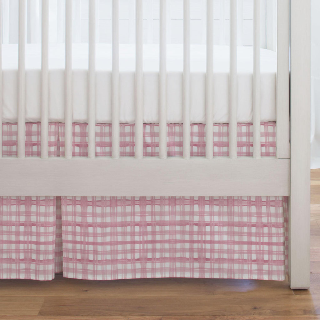 Product image for Pink Watercolor Plaid Crib Skirt Single-Pleat