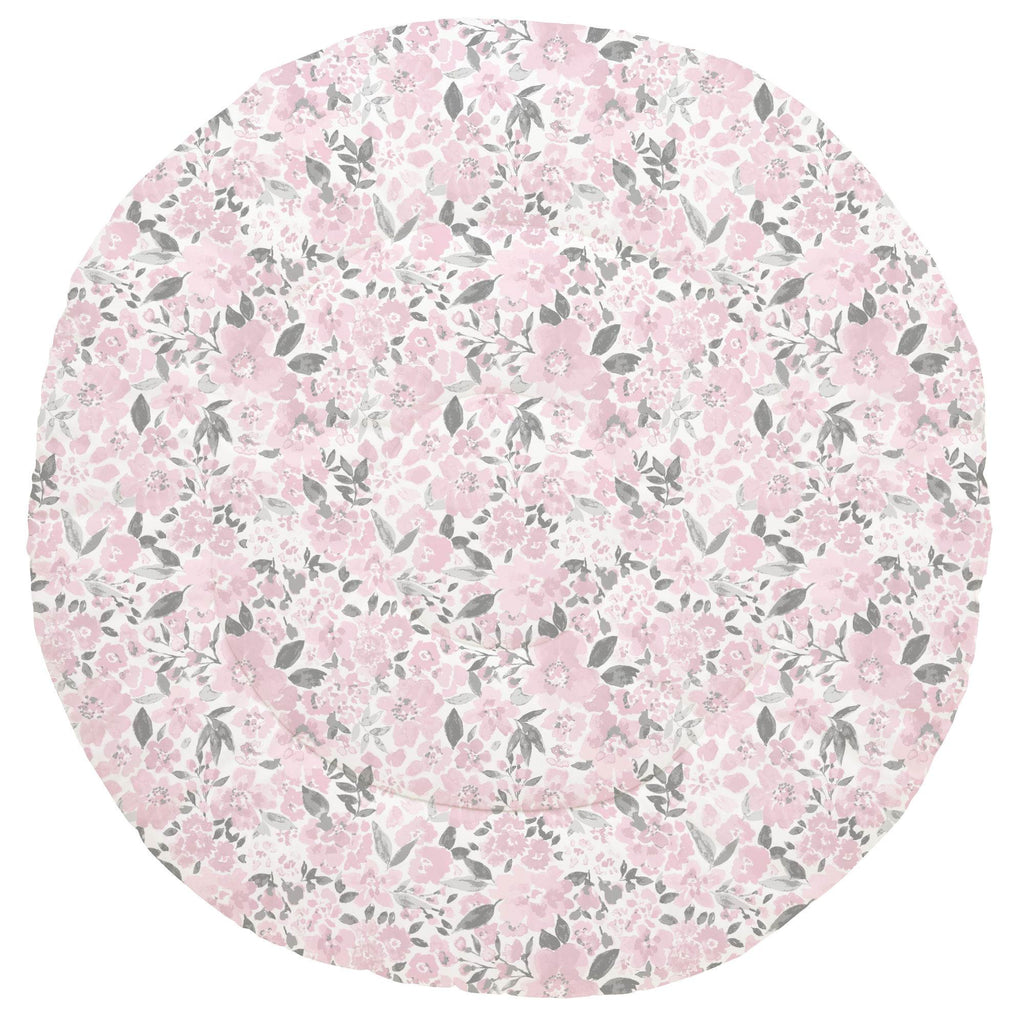 Product image for Pink and Gray Prairie Floral Baby Play Mat