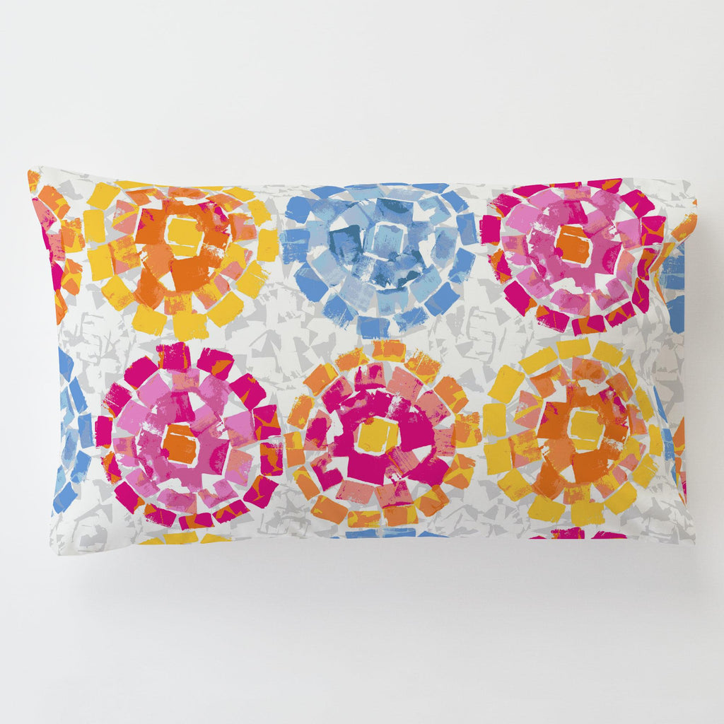 Product image for Pink and Blue Modern Mosaic Toddler Pillow Case with Pillow Insert